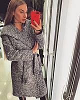 Красивое женское пальто с капюшоном ШЕРСТЯНОЕ БУКЛЕ