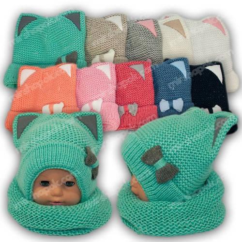 Детский комплект - шапка и шарф (тунель) для девочки, р. 46-48, A792F, Grans (Польша), утеплитель флис