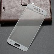 Защитное стекло 3D на Samsung A720 (A7 2017) Белое