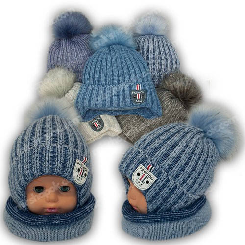 Детский комплект - шапка и шарф (труба) для мальчика, p. 44-46, Ambra (Польша), утеплитель Iso Soft, R28