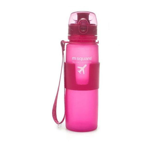 Силиконовая бутылка для воды 500 мл (розовый)