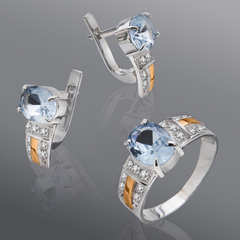 Гарнитур из серебра и золота с камнями Юрьев арт.114 18