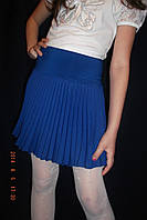 Юбка плиссе для девочки  габардин электрик синий
