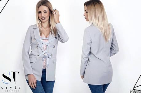 Пиджак на люверсах с атласной лентой. , фото 2
