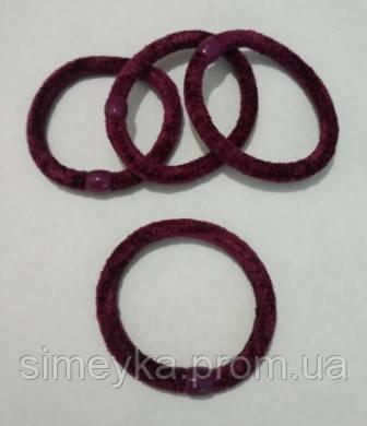 Резинка для волос велюровая бордовая, диаметр 6 см, 1 шт.