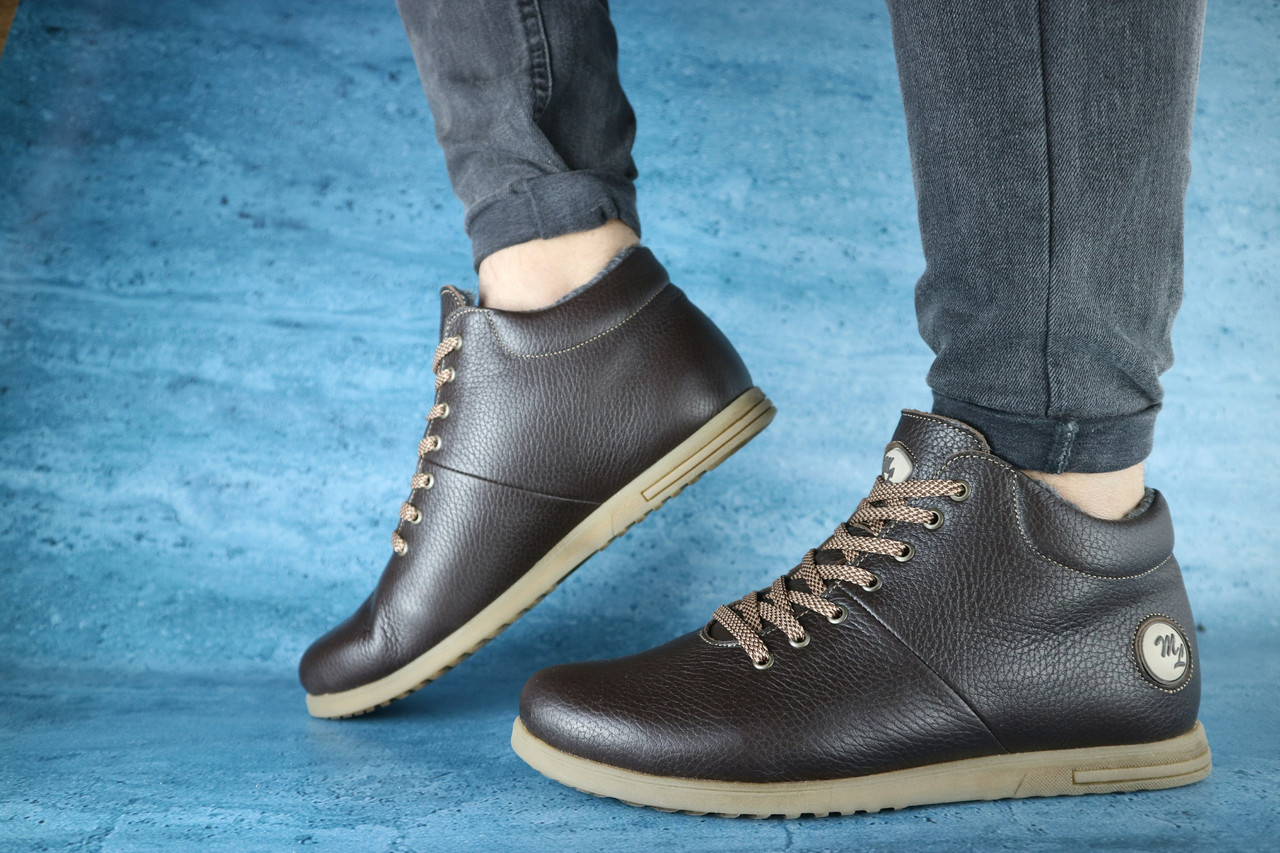 Мужские зимние ботинки MiLord (коричневые), ТОП-реплика
