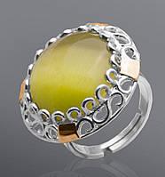 Кольцо из серебра и золота Юрьев с улекситом  21к
