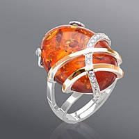 Женское кольцо Юрьев с янтарем  32к