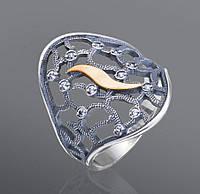 Кольцо из серебра Юрьев украшенное фианитами с золотыми вставками  41к