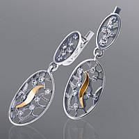 Серьги из серебра и золота Юрьев украшенные фианитами  41 с
