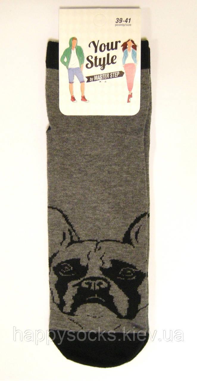 Хлопковые демисезонные укороченные мужские носки с бульдогом