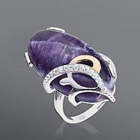 Кольцо из серебра и золота Юрьев с крупным камнем  47к