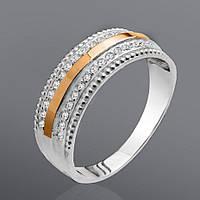 Серебряное кольцо Юрьев с золотом и камнями 49к