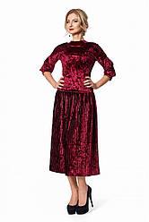 Нарядный женский костюм из бархата с юбкой плиссе