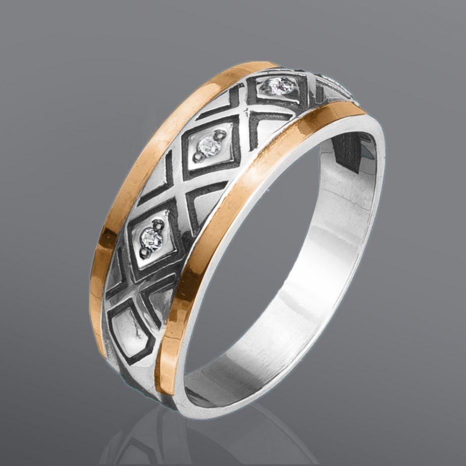 Кольцо из серебра и золота Юрьев 72к