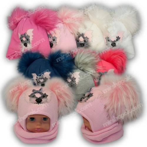 Детский комплект - шапка и шарф (хомут) для девочки, p. 44-46, Ambra (Польша), утеплитель Iso Soft, N9