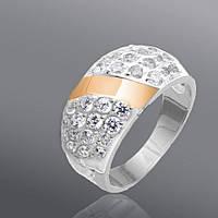 Женское серебряное кольцо Юрьев со вставками золота 82к