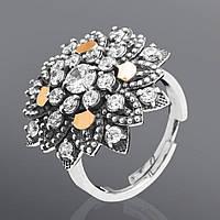 Серебряное кольцо с золотом Юрьев украшенное фианитами 83к