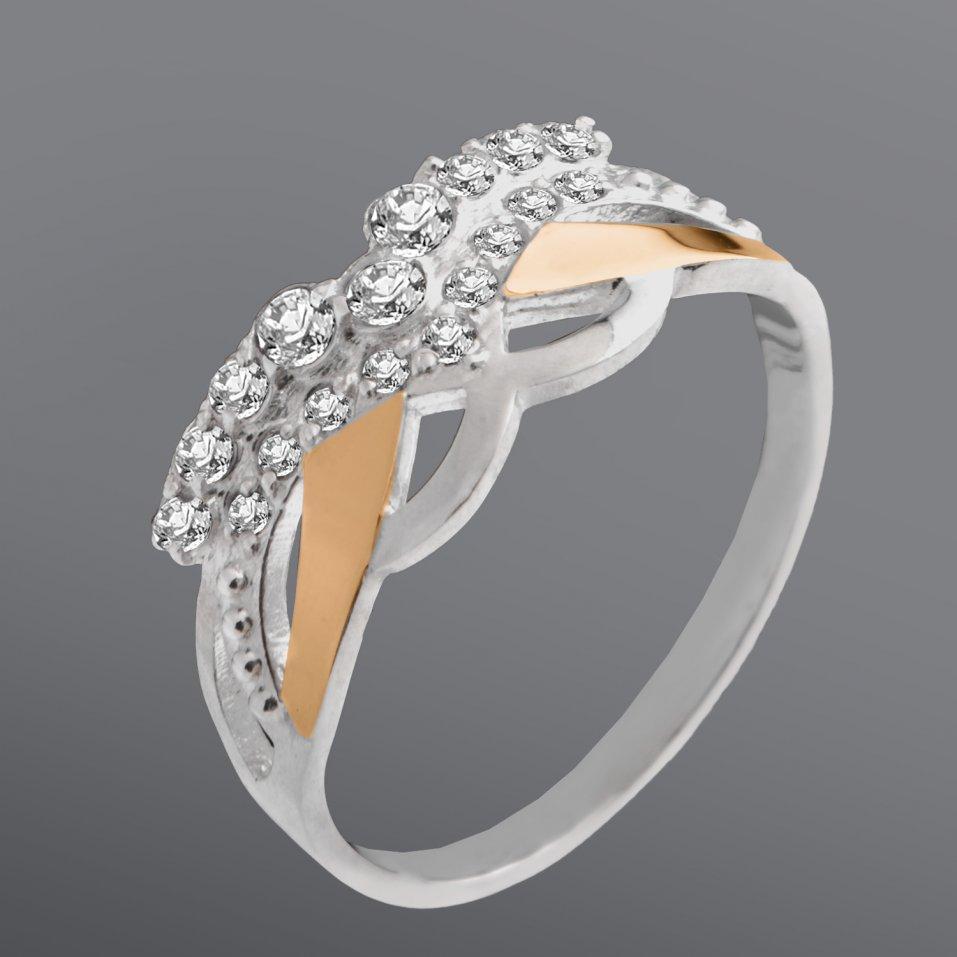 Женское кольцо Юрьев со вставкой из белых фианитов 87к