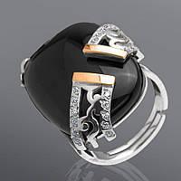 Женское кольцо с ониксом и фианитами Юрьев 101к