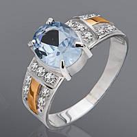 Кольцо из серебра и золота с камнями Юрьев 114к