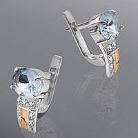 Серьги из серебра и золота с камнями Юрьев 114 с