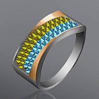 Женское кольцо Юрьев с камнями Сваровски  128к