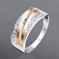 Серебряное кольцо с золотом Юрьев, камень фианит 154к 17.5