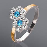 Серебряное кольцо с золотыми вставками и камнями Юрьев 155к