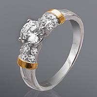 Серебряное кольцо с золотыми вставками Юрьев 201к