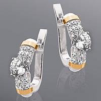 Серебряные серьги с золотыми вставками Юрьев 201 с