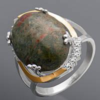 Женское серебряное кольцо с золотом Юрьев 217к