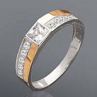 Женский перстень - серебро с золотом - 218к