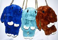 Сумки-рюкзак зайки из натурального меха 26*16 в разных цветах