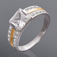 Женское кольцо с квадратным камнем Юрьев 234к 17.5
