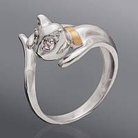 Серебряное кольцо с золотом - 263к