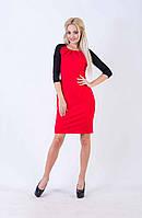 Женское платье-футляр с рукавами 3/4 (красное) Love KAN № 0209