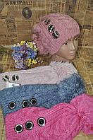 Детская шапка для девочки с пуговицамы