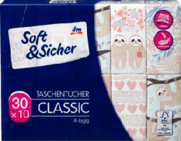 Бумажные носовые платки Soft & Sicher Classik, 30 x10 шт.
