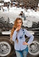 Жіноча блузка в дрібну полоску з вишивкою від KIVI