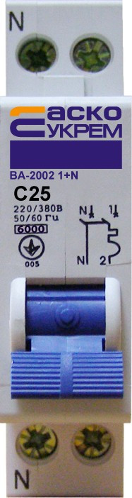 Автоматический выключатель УКРЕМ ВА-2002  2р (1+N) 25А АсКо