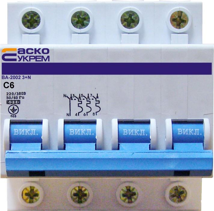 Автоматический выключатель УКРЕМ ВА-2002  4р (3+N) 6А АсКо
