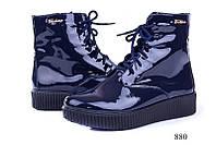 Женские ботинки лаковые синие  880