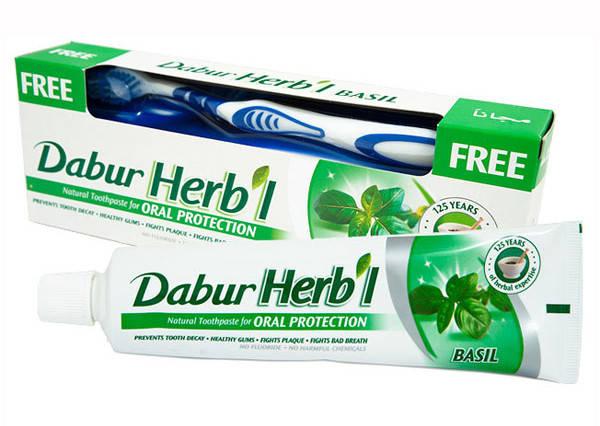 Зубная паста с базиликом Dabur + зубная щетка, 150 г, фото 2