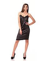 Летнее платье-майка с кружевом черное. Модель П098_черный атлас.