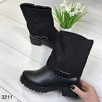 Зимние женские полусапожки черные АВ-3211