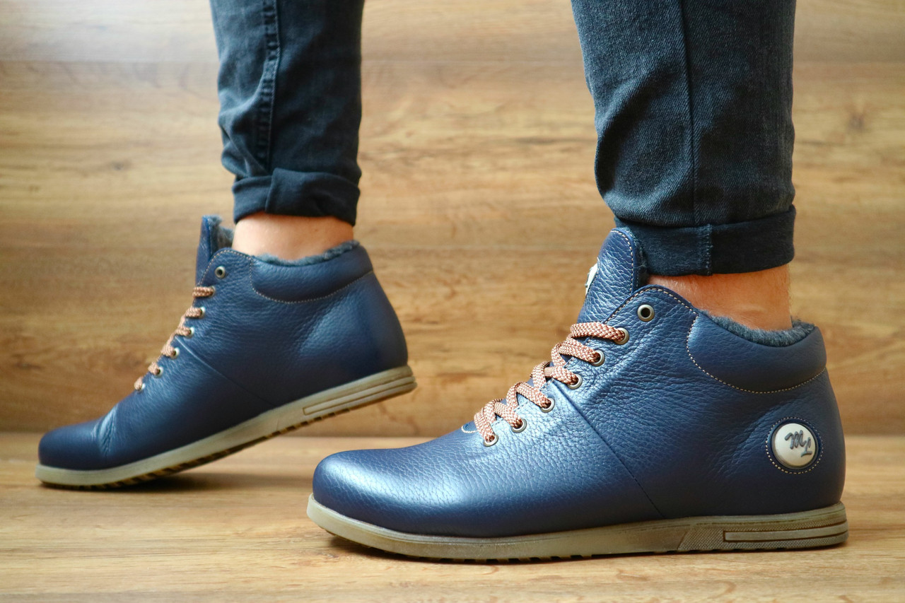 Мужские зимние ботинки Olimp (синие), ТОП-реплика