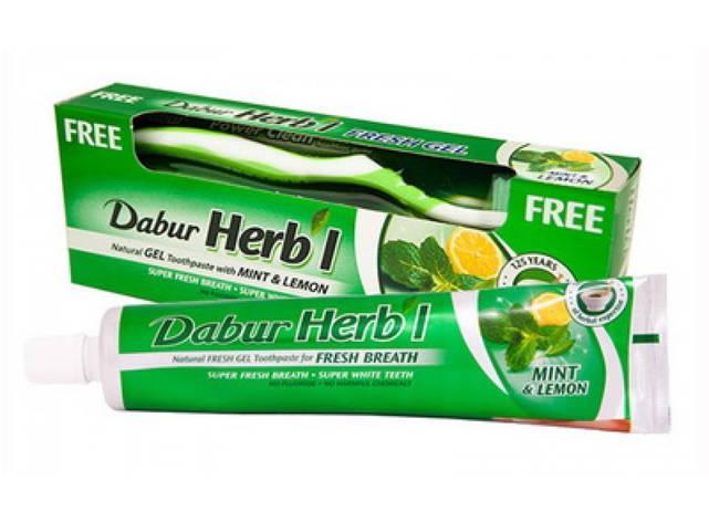 Зубная паста-гель с лимоном и мятой Dabur + зубная щетка, 150 г, фото 2