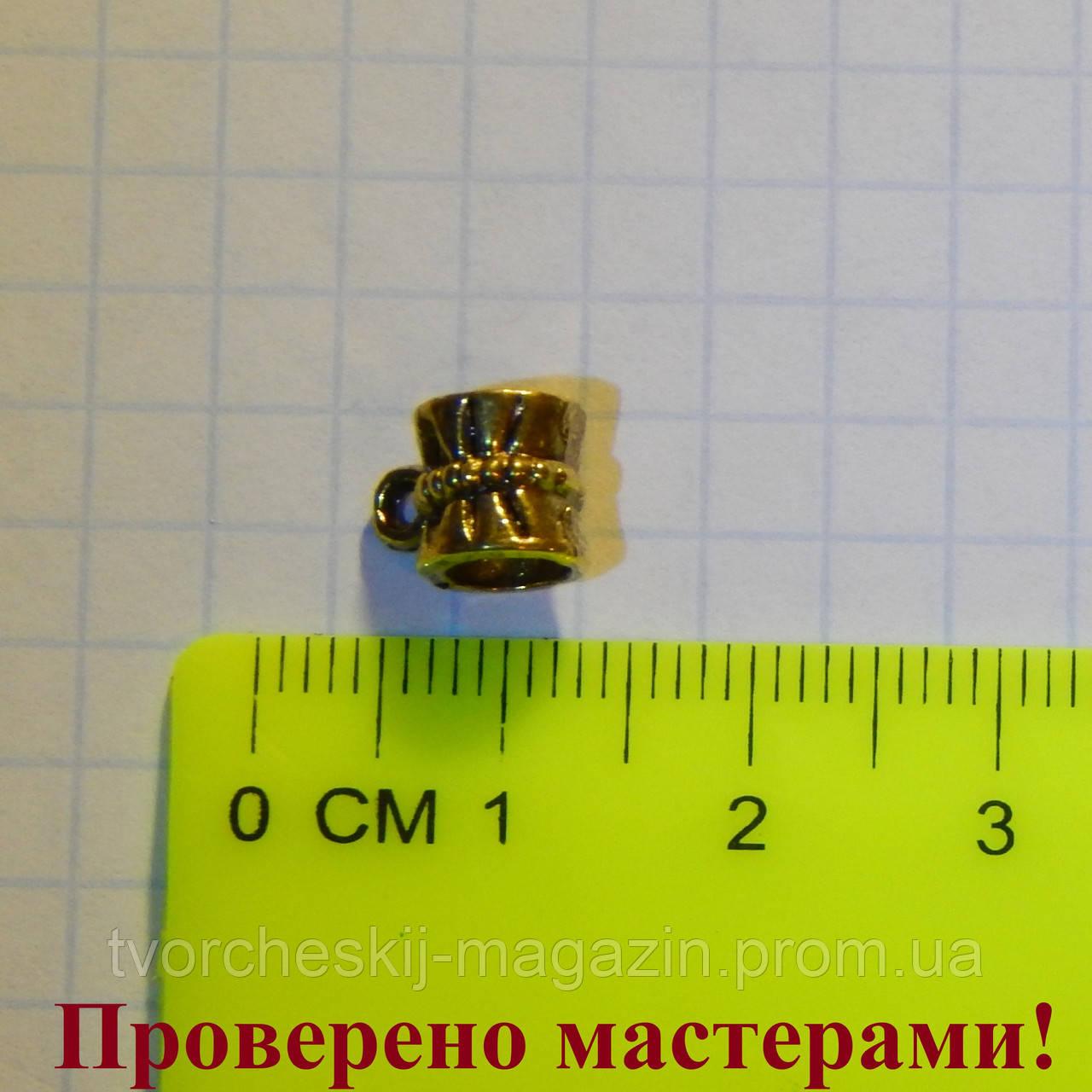 Держатель для кулона 0,9 см (с петелькой), античное золото 1 шт.