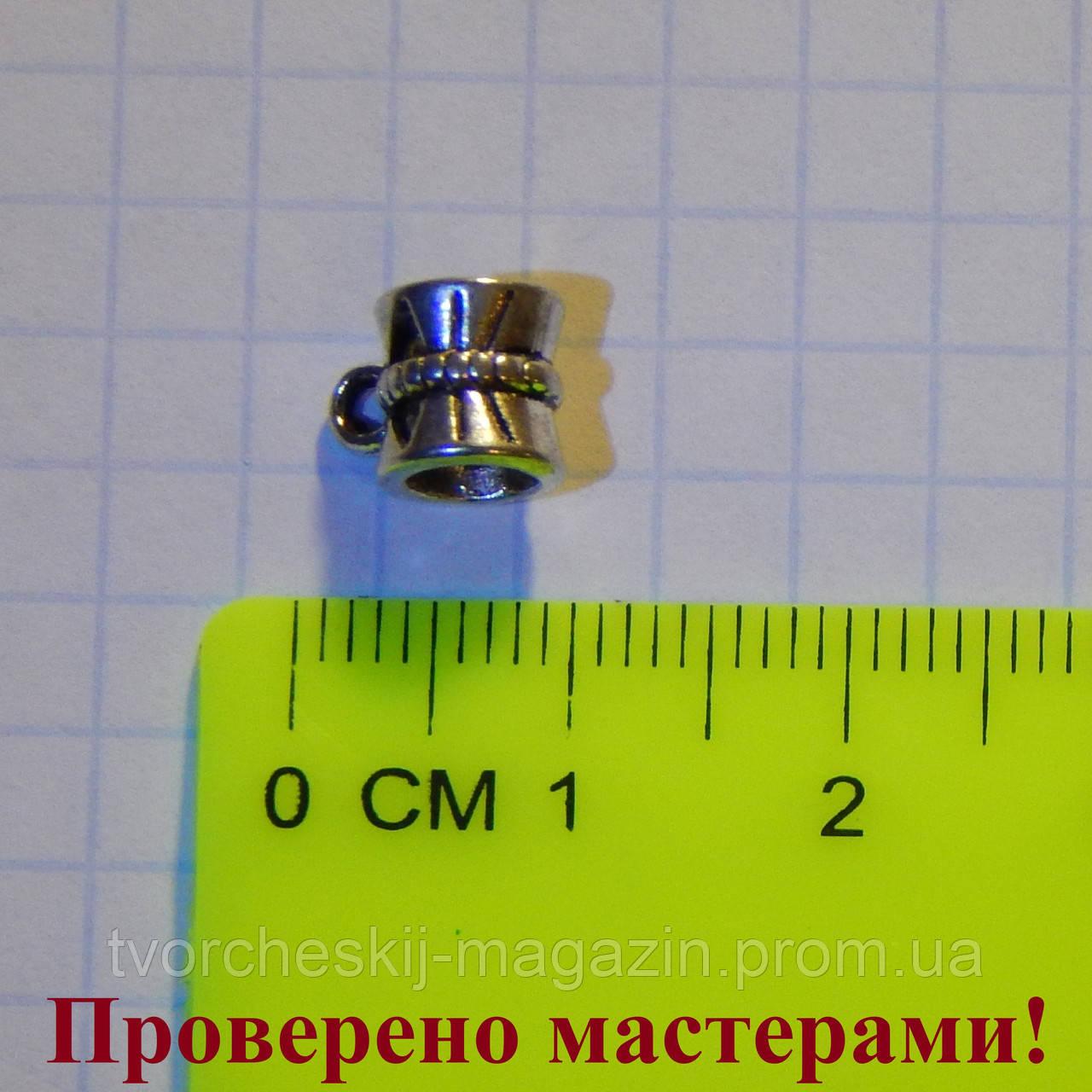 Держатель для кулона 0,9 см (с петелькой), тибетское серебро 1 шт.